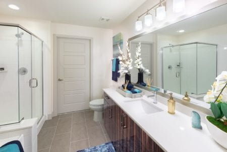 luxury bathroom and shower at thayer and spring apartments