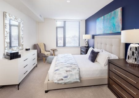 carpeted bedroom in luxury thayer and spring apartments silver spring