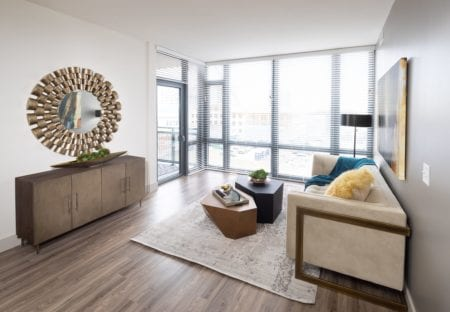 luxury apartment living room in silver spring at thayer and spring