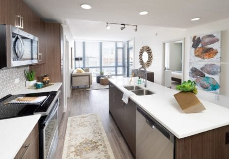 luxury open kitchen at thayer & spring apartments in silver spring