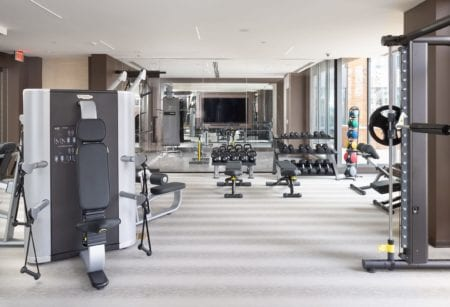 weight gym amenities at thayer & spring apartments insilver spring