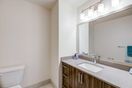 luxury bathroom at thayer and spring apartments silver spring