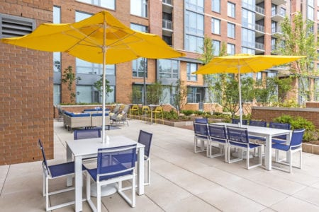 outdoor apartment lounge amenities at thayer and spring in silver spring