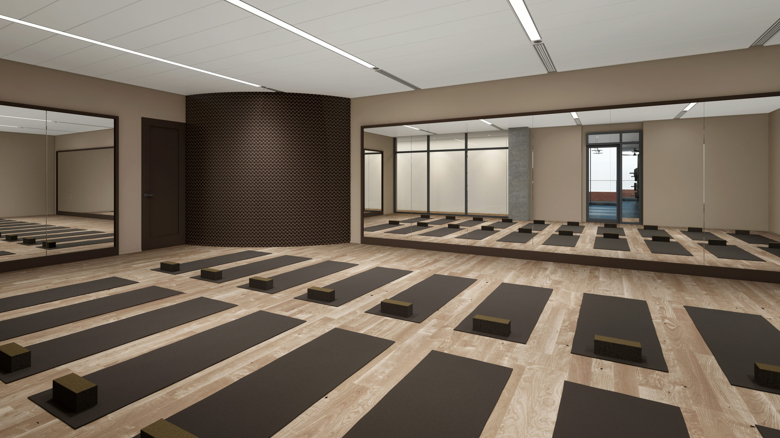 fitness studio with yoga mats rolled out