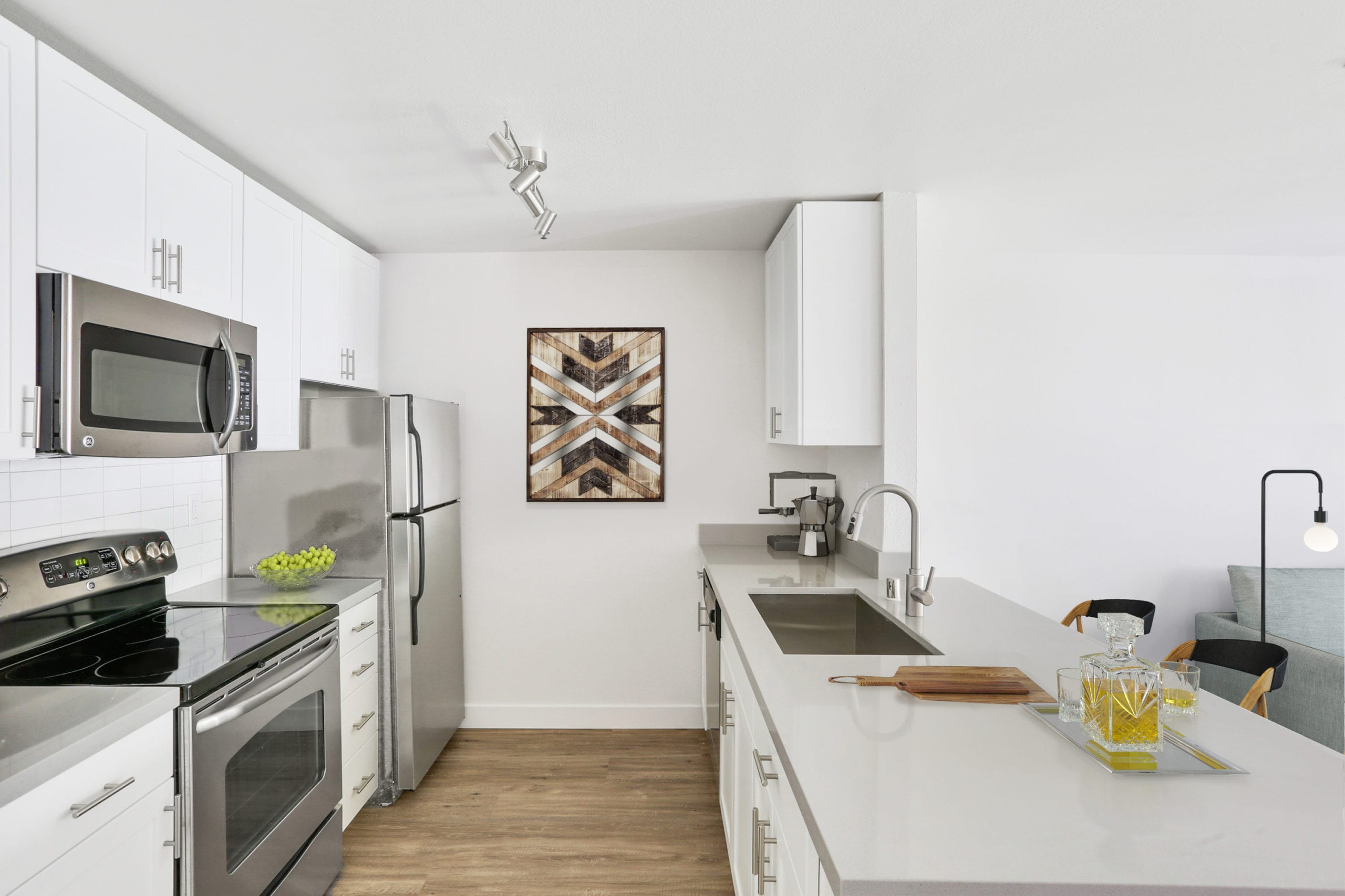luxury downtown san francisco kitchen apartment white finishes and breakfast bar