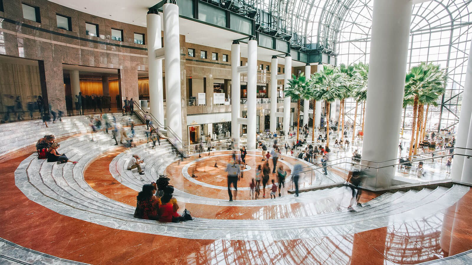 Winter Garden stairs with shoppers walking through