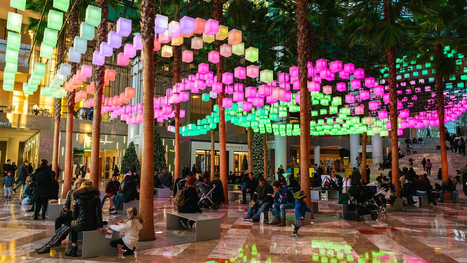 the Winter Garden during the Luminaries light festival, showcasing many colorful neon lights above the Garden