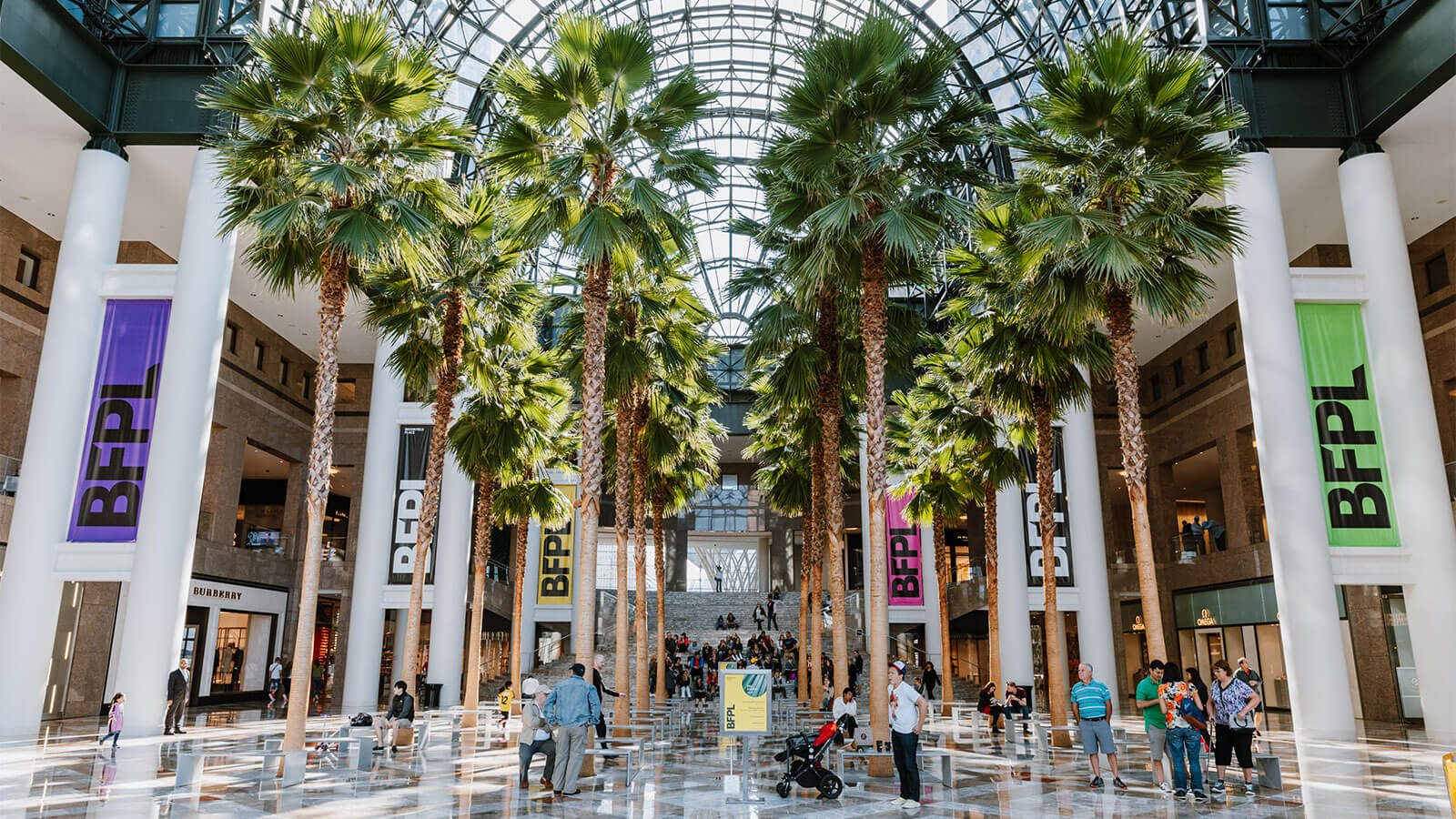 The Winter Garden at BFPL showcasing their giant palm trees and shoppers abound